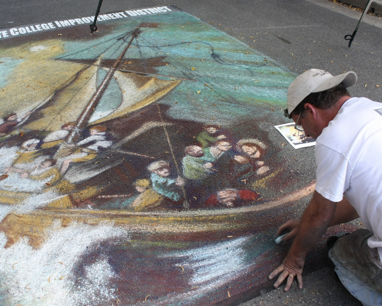 Working on a Rembrandt: Italian Street Painting Festival